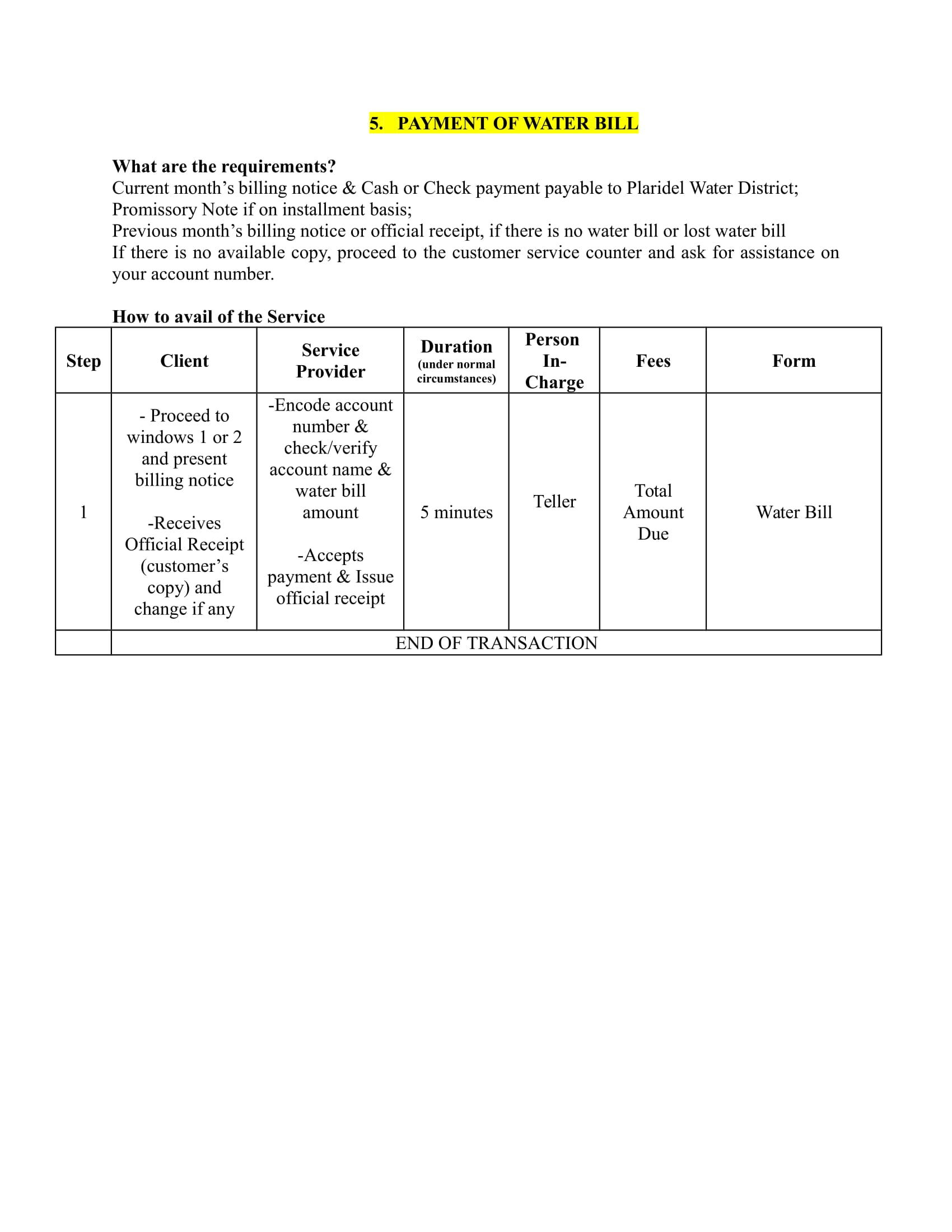 Payment of Water Bill